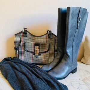 New Tall Grey Low Heeled Boots Size 6.5 Wide